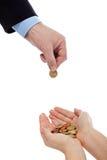 Setzen Sie Ihr Geld in sichere Hände ein Stockfotografie