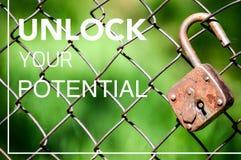 Setzen Sie Ihr Potenzial frei, verwirklichen Sie Ihre Ideen stockbild