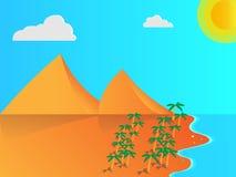 Setzen Sie Illustration mit Bergen, Palmen usw. auf den Strand Lizenzfreies Stockbild