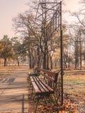 Setzen Sie im Park am nebelhaften Morgen des Herbstes auf die Bank Stockbilder
