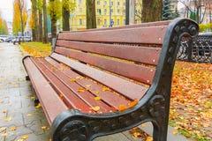 Setzen Sie im schönen Herbstpark nach Regen auf die Bank Lizenzfreies Stockbild