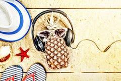 Setzen Sie, Küstenferien, Ananas, auf dem Strand, Kopfhörer, VA auf den Strand Lizenzfreie Stockbilder