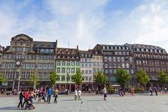 Setzen Sie Kleber, den zentralen Platz von Straßburg, Frankreich Lizenzfreies Stockbild
