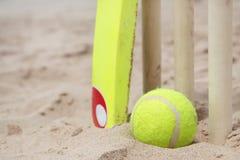 Setzen Sie Kricket auf den Strand lizenzfreie stockfotografie