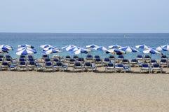 Setzen Sie Las Vistas, Los Cristianos Tenerife auf den Strand Stockfotos
