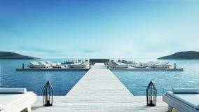 Setzen Sie lebenden Aufenthaltsraum u. Partei-Aufenthaltsraum auf den Strand u. kühlen Sie heraus Aufenthaltsraum - Bild Wiederga Lizenzfreies Stockfoto