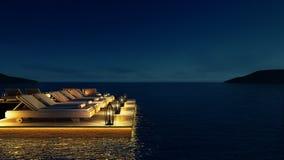 Setzen Sie lebenden Aufenthaltsraum u. Partei-Aufenthaltsraum auf den Strand u. kühlen Sie heraus Aufenthaltsraum - Bild Wiederga Stockfotografie