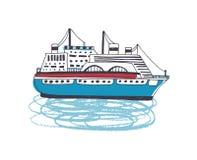 Setzen Sie, luxuriöses Passagierschiff, Zwischenlage, Watercraft oder Schiffsegeln im Ozean über Marineschiff in den Seereisen an vektor abbildung