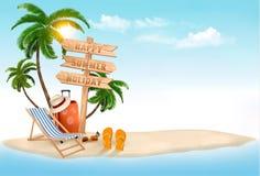 Setzen Sie mit einer Palme, einem Wegweiser und einem Strandstuhl auf den Strand Summ Stockfoto