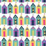 Setzen Sie nahtloses Muster des hellen bunten geometrischen Vektors der Kabine auf den Strand Stockbilder