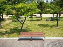Setzen Sie am Park am sonnigen Tag auf die Bank Stockfotos