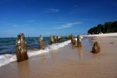 Setzen Sie, steigernde Farben, Stücke Holz auf den Strand. Lizenzfreies Stockfoto