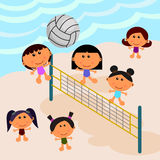 Setzen Sie Szene mit Volleyball auf den Strand Stockfotos
