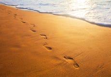 Setzen Sie, Welle und Abdrücke zur Sonnenuntergangzeit auf den Strand stockfotografie