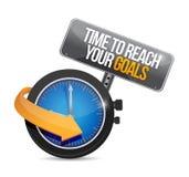 Setzen Sie Zeit fest, um Ihre Zielkonzeptillustration zu erreichen Stockfoto