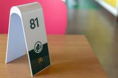 Setzende Zeichenwartenahrung McDonalds zum anzukommen stockbilder