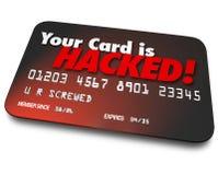 Seu cartão de crédito é roubo de identidade roubado cortado do dinheiro Imagem de Stock Royalty Free