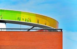 ` Seu ` do panorama do arco-íris no telhado do ARoS Aarhus Art Museum Imagens de Stock Royalty Free