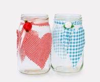 ?Seu e dela? - dois frascos de vidro handecorated fotografia de stock