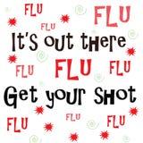 Seu lá fora, obtenha sua vacina contra a gripe foto de stock