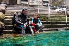 Seu primeiro mergulho Imagem de Stock Royalty Free
