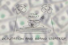 Seu produto na fase sob projetores com reputação & Br do texto ilustração do vetor