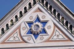 SEU sinal, o di Santa Croce Basilica da basílica da igreja transversal santamente em Florença, Itália fotografia de stock