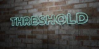 SEUIL - Enseigne au néon rougeoyant sur le mur de maçonnerie - 3D a rendu l'illustration courante gratuite de redevance illustration de vecteur