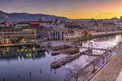 Seujet dam on Rhone river, Geneva, Switzerland Stock Image