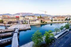 Seujet dam on Rhone river, Geneva, Switzerland. Seujet dam on Rhone river by sunset, Geneva, Switzerland, HDR Stock Photography