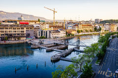 Seujet dam on Rhone river, Geneva, Switzerland Stock Image