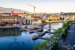 Seujet dam on Rhone river, Geneva, Switzerland. Seujet dam on Rhone river by sunset, Geneva, Switzerland, HDR Stock Image