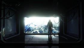 Seul astronaute dans l'espace Couloir futuriste de Sci fi vue de la terre rendu 3d illustration de vecteur