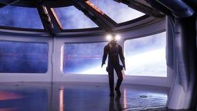 Seul astronaute dans l'intérieur futuriste Vue de pièce de Sci fi de la terre rendu 3d Image stock