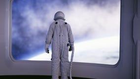 Seul astronaute dans l'intérieur futuriste Vue de pièce de Sci fi de la terre rendu 3d Photographie stock