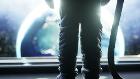 Seul astronaute dans le couloir futuriste de l'espace, pièce vue de la terre longueur 4k cinématographique illustration de vecteur