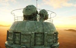 Seul astronaute sur la planète étrangère Martien sur à base métallique Futur concept rendu 3d Photos libres de droits