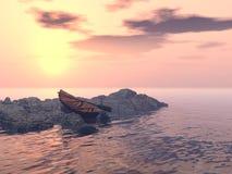 Seul bateau à rames Photos stock