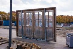 Seul carreau Glas de l'objet quatre de construction d'architecture de porte lâche images stock