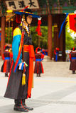 Capitán Traditional Costume Guard Deoksugung Foto de archivo