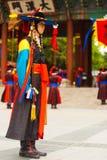Capitán Traditional Costume Guard Deoksugung Foto de archivo