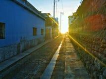 Seul coucher du soleil de rue Photos libres de droits