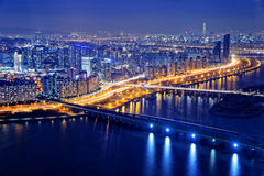 Seul en la noche, Corea del Sur Foto de archivo