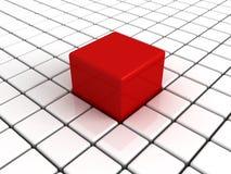 Seul grand cube rouge différent dans le blanc d'autres Images libres de droits