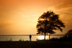 Seul homme au lac image libre de droits