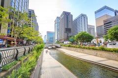 SEUL KOREA, JUN, - 19, 2017 Cheonggyecheon strumień w Seul, Kore Obraz Stock