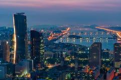 Seul linia horyzontu przy nocą Fotografia Royalty Free