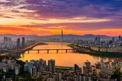 Seul miasta linia horyzontu zdjęcia royalty free