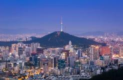 Seul miasta linia horyzontu zdjęcia stock