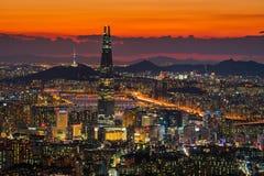 Seul miasta linia horyzontu najlepszy widok Południowy Korea Obrazy Stock
